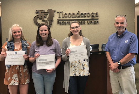 2019 Scholarship Winner (for the photo if included:   Left to right: Swade Potter, Crown Point Central Natalie O'Neil, TrailNorth HS Katie Shelmidine, TrailNorth HS Shawn Hayes – President & CEO